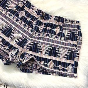Jolt tribal blue and white patterned shorts